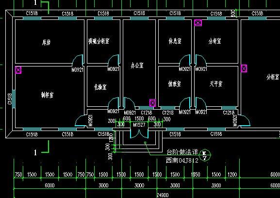 精密仪器实验室,化学分析实验室,辅助室(办公室,储藏室,钢瓶室等).